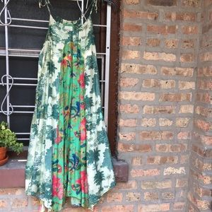 Anthro Maeve Santee Swing Dress Size Medium green